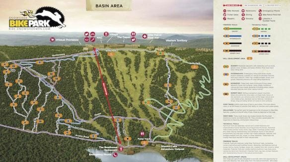 Skiing Virginia Map.Snowshoe Wv Map Guide To The Various Trail Systems At Snowshoe