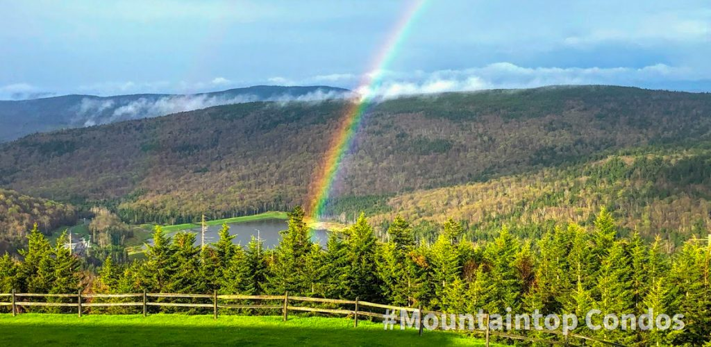 A rainbow with trees and a lake in the background
